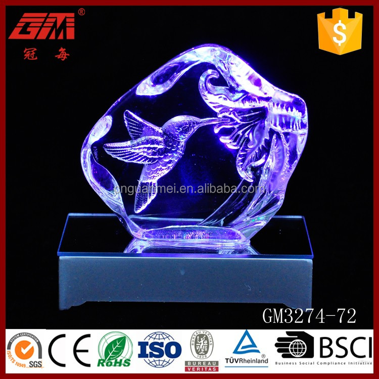 Factory direct sell led clear engraved glass block