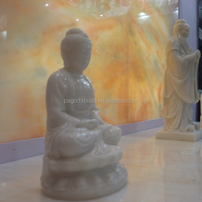 White Jade Buddha Statue Standing or Sitting Buddha Statue made of Rainbow Jade Originated from Border of Kazakhstan and China