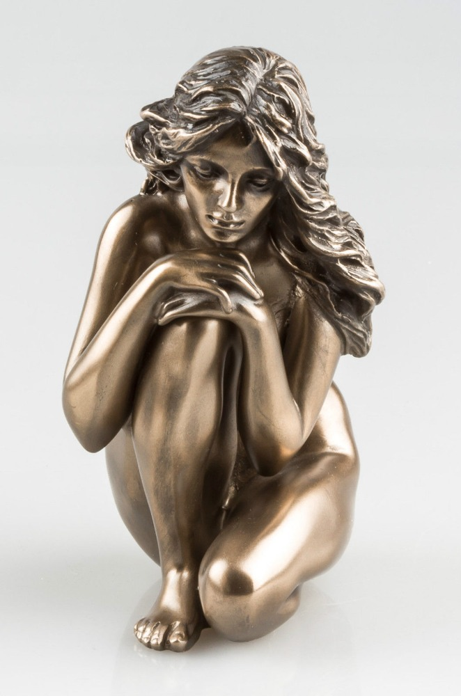 BRONZE FINISH NUDE WOMAN SCULPTURE NAKED FEMALE EROTIC ART STATUE