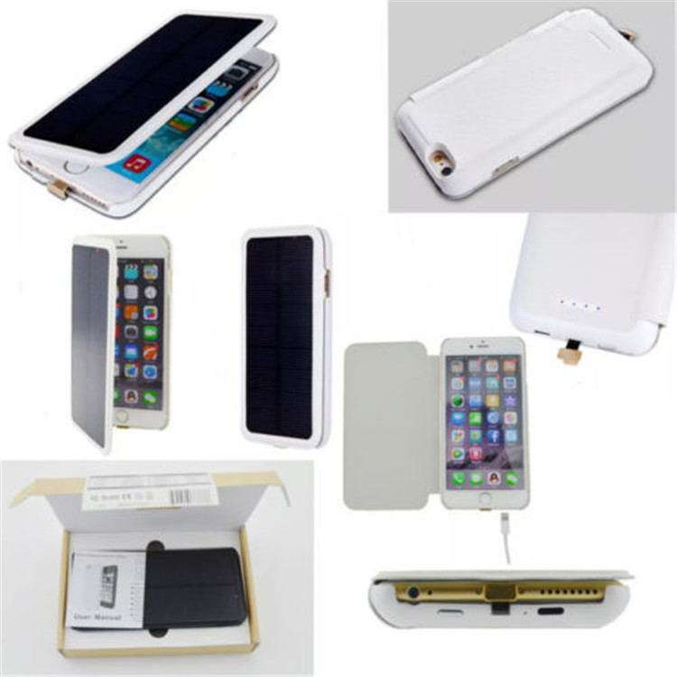 new arrival flip wallet battery solar powered cell phone case cover For iPhone 7 solar mobile phone charger case