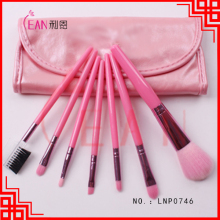 2017 7pcs makeup brush set wholesale pink colour synthetic hair wooden handle cosmetic travel mini brush set with pouch