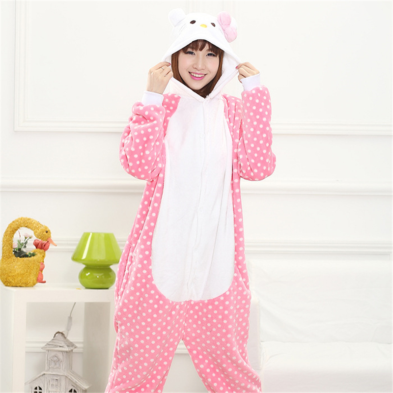 cd9a63e937 Get Quotations · Hot Pink Stitch KT Cat Pajama Sleepwear Pajamas for women  Cartoon Animal cosplay Adult Onesies costume