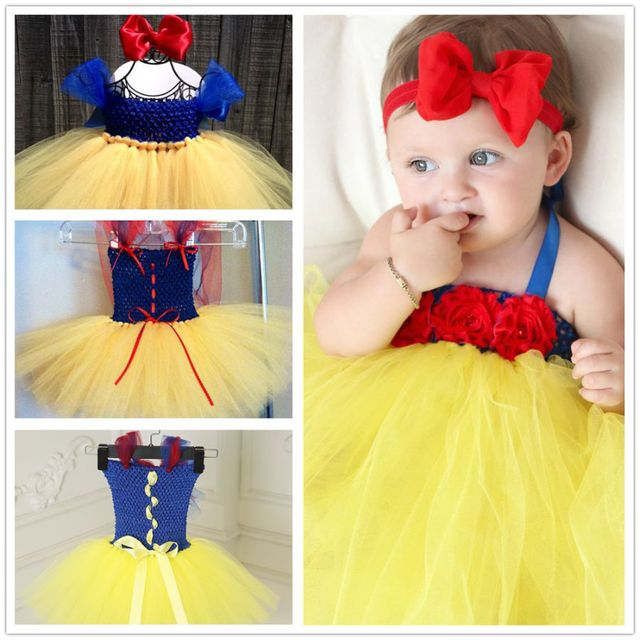 2017 Baby Tutu Dress Toddler Infant Princess Cosplay Snow White Costume 1 Year Birthday Dress Wedding Party Baby Dress