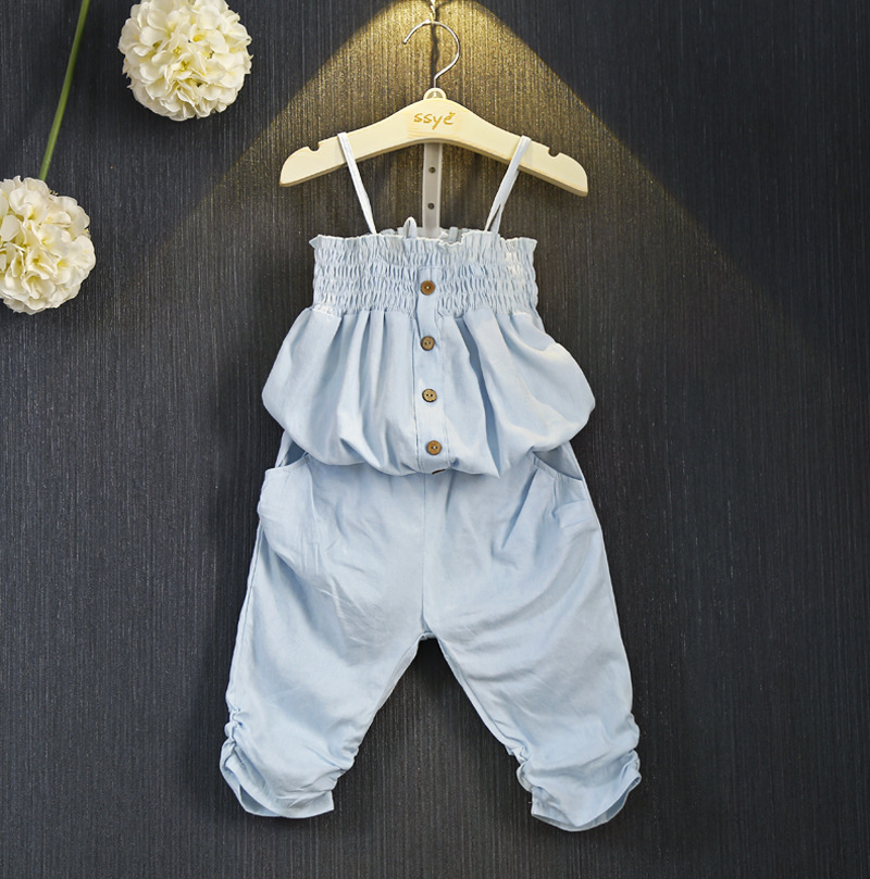 Sweet Kids Girls Denim Halter Design Outfits Strapless Tops and Shorts 2pcs Sets Fashion Summer Clothing Sets