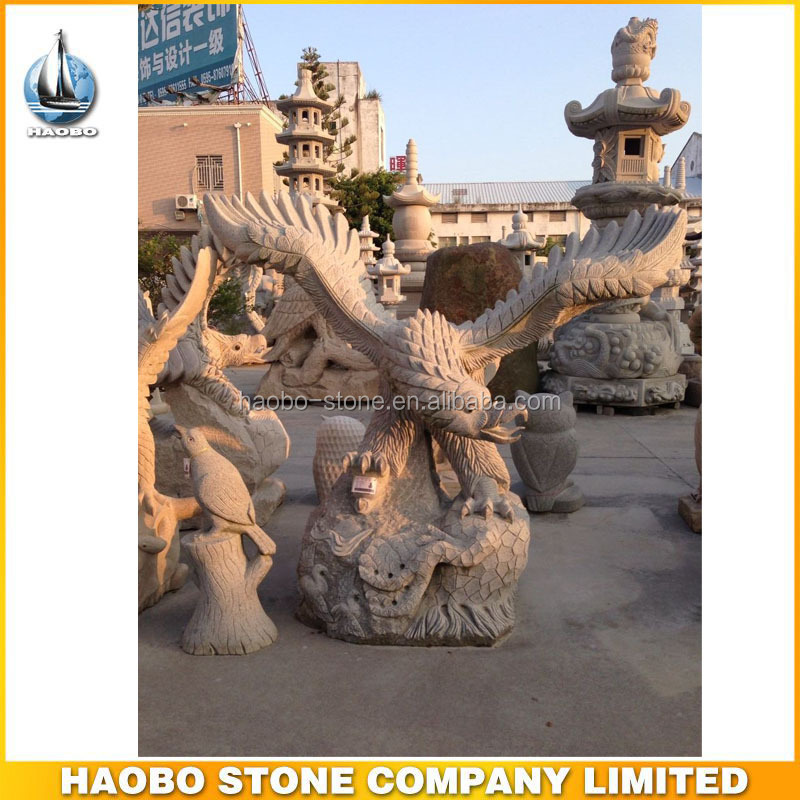 Cheap Hand Carved Granite Yellow Stone Eagle Sculpture