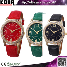 Japanese Movement Lobor Watch Quartz Women Crystal Leather Band Watches Cheap Watch In Bulk