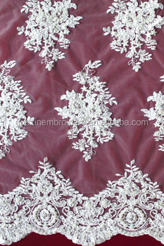 Flower Design Bead Embroidered Fabric For Wedding gown