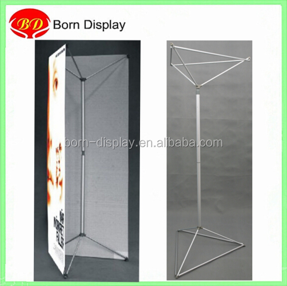 Triple banner pole stand solid aluminum frame display screen