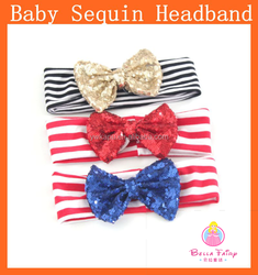 Large Sequin Bow Cotton knot headband infant toddlers baby headband wholesale