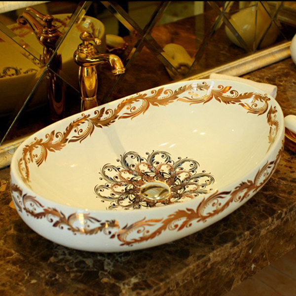 AB-009 White & Gold Color Vessel shape Art Basin, Luxuary Deep Bathroom Ceramic Sink