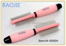 Double Sides Pet Grooming Cobm Dog Deshedding Tools with Silica Gel Handle