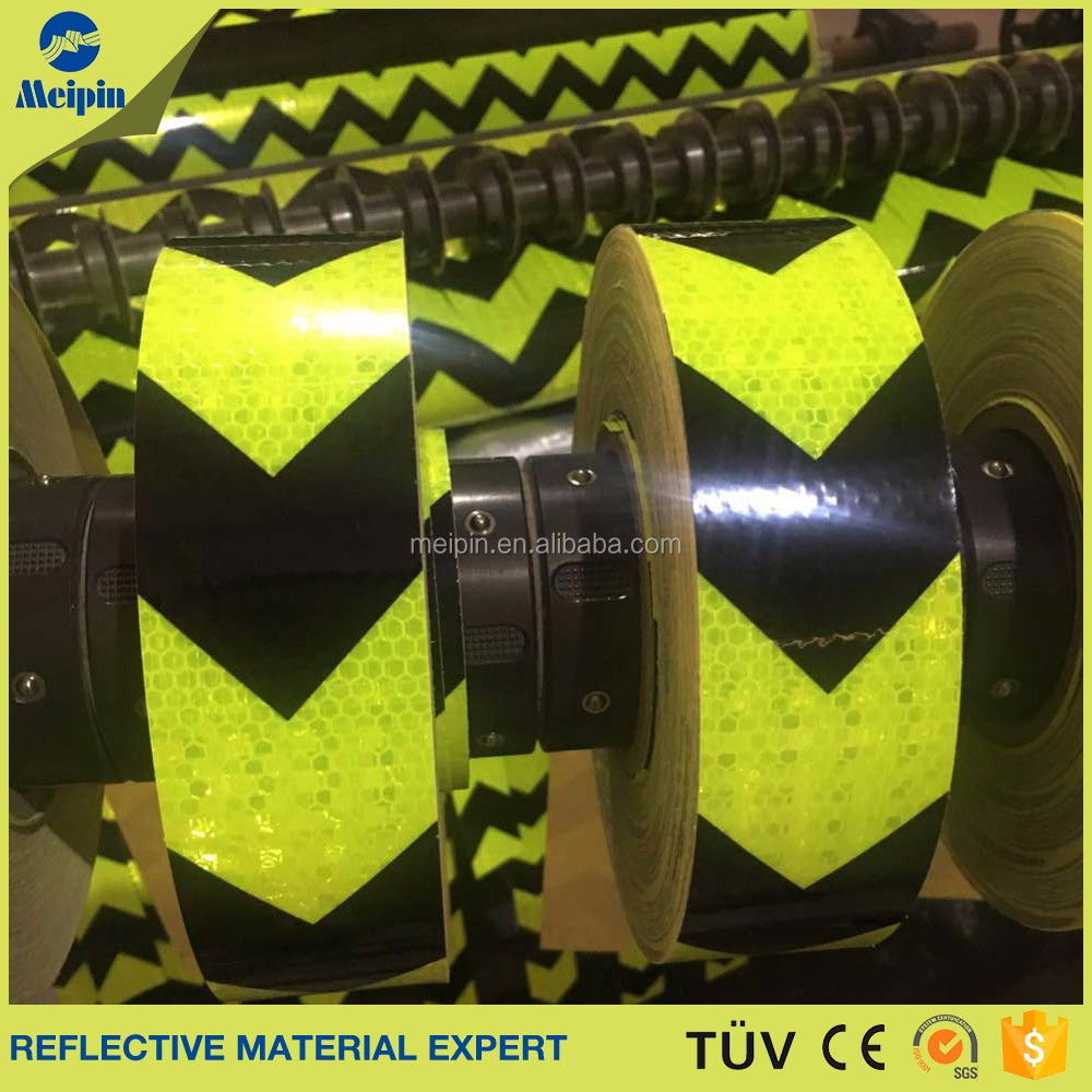 Hazard warning reflective tapes in Black and Yellow color