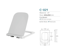 White Square ultrathin UF Toilet Seat and Cover with Soft Close toilet seat cover cheap price factory supplier