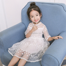 Girl net yarn princess clothing dress cute yarn dress casual summer cotton short sleeves one-piece dress online shopping