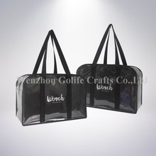 Eco-friendly wholesale black Glitter non woven zipper bag high quality shopping bag gift bag