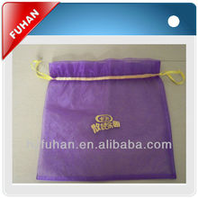 Customized purple organza drawing bags with printing logo