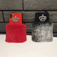 Bling Crystals Cute Luxury Fluffy Crown Fur Hard Cover Case For iphone x 8 8 plus 7 7 plus 6 6s