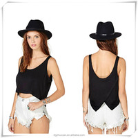 New Sexy Lady's Casual Asymmetric Back-Crossed Crop Tops Clothing