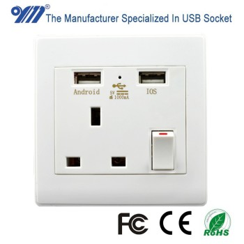 HK UK Singapore Malaysia dual USB port outlet wall switch socket receptacle plate panel white