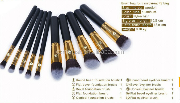 private label 10pcs maquillaje cosmetics synthetic makeup brushes set