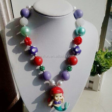 Mermaid fashion necklaces jewelry 2014 wholesale chunky bubblegum necklace bead necklace