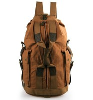 9019B Brown Military Canvas Backpack, Travel Rucksack