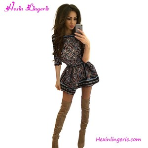 Vintage Retro Print O-Neck Short Tight Sexy Girl Dress In Guangzhou