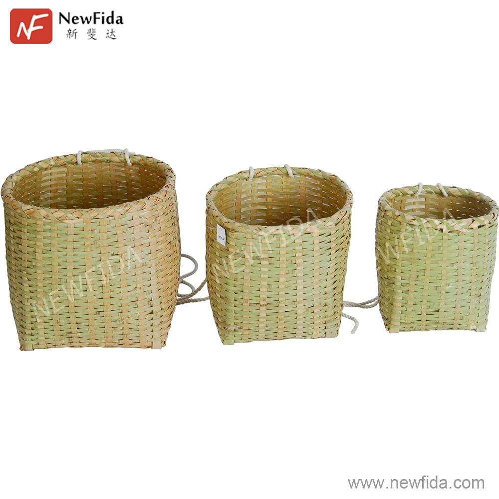 Bamboo Wicker Basket with Rope Handle Set of 3 Woven Storage Basket