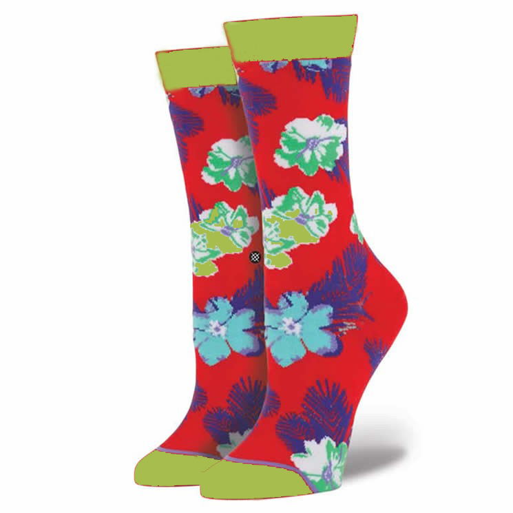 High Fashion Crew Length All Over Flowers Pattern Womens Sublimation Printing Sock