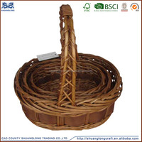 hot sale round wooden vegetable basket / fruit wooden basket /antique wooden storage baskets