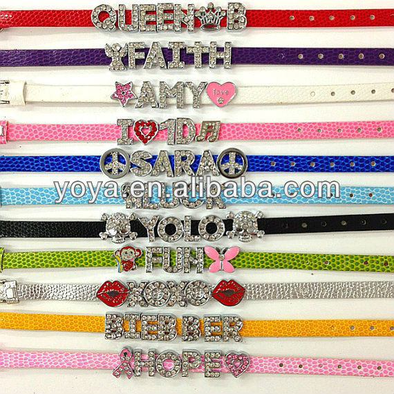 BRH1111 Fashion rhinestone slide letter leather bracelet,letter slide wristband bracelet