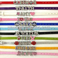 BRH1111 Fashion rhinestone slide letter leather bracelet,letter slide wristband bracelet