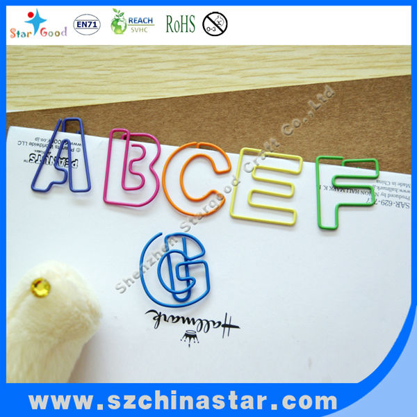 Plastic letter coated paper clips with customized shape