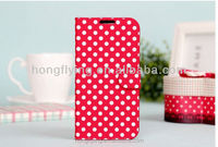 Cute dot PU leather case for Samsung Galaxy S4 with stand function
