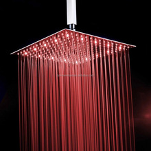 "16"" 304 stainless steel LED temperature control square top head shower"