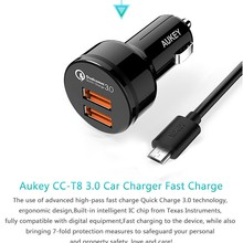 Aukey Quick Charge 3.0 36W 2 Ports USB Car Charger QC3.0 Adapter