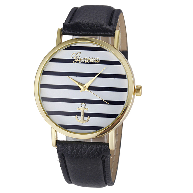 Newly Design Women Striped Anchor Pattern PU Leather Quartz Wrist Watch Nov3