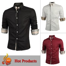 Fast Shipping 2015 Men Shirt fashion Mens Dress Shirts Slim Fit BE TOP Brand Clothes Male Casual-Shirt M-XXL BC12
