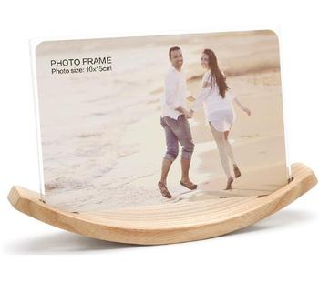 acrylic photo picture frame with wooden moon shape base