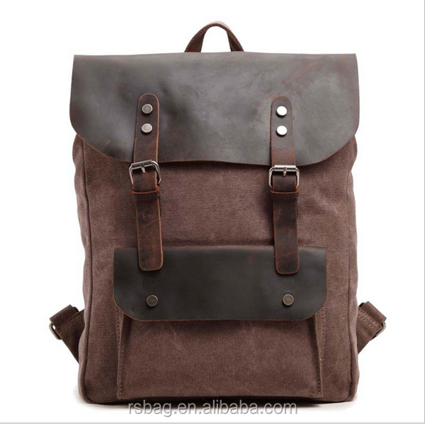 Customized Hot sales leather and canvas backpack genuine leather backpack backpack for traveling