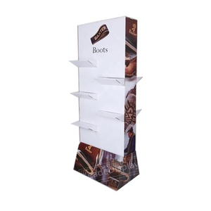 Friendly custom design costly shoes display rack in cardboard for promotion in high selling