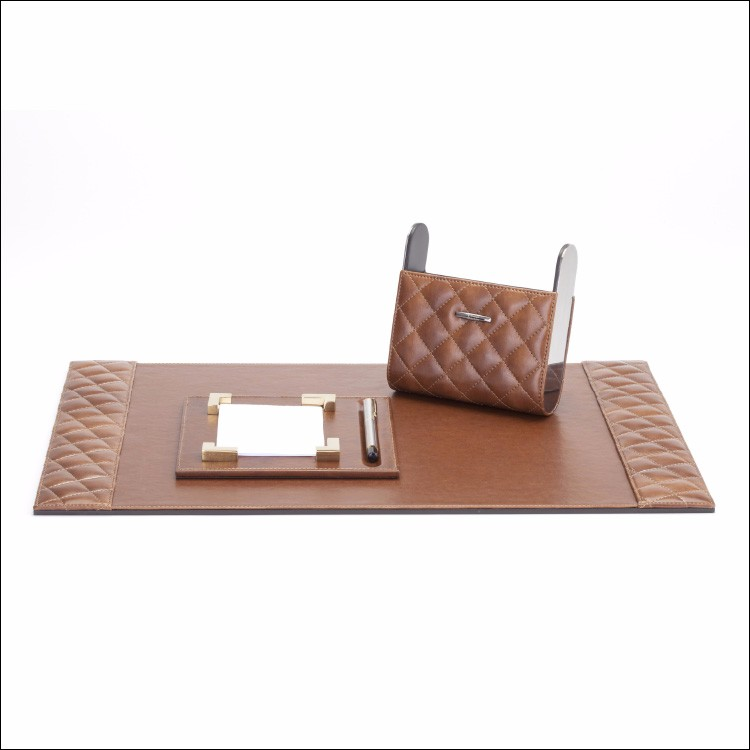 Brown Leather Desk Blotter Desk Pad For Hotel Room High Quality