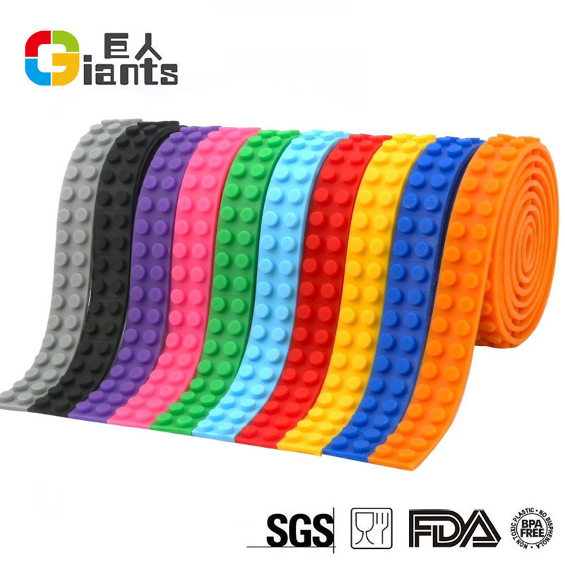 11 colors Self-Adhesive silicone building blocks bricks tape for building blocks and construction toys