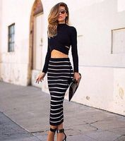 2015 Winter New black and white striped long sleeve 2 two piece set midi bandage dress party prom mid-calf sexy Dress wholesale