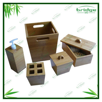 Wooden bamboo bathroom accessories set