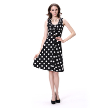 Draped Neck Sleeveless Dots Print A Line Dress Wholesale Clothing Mexico