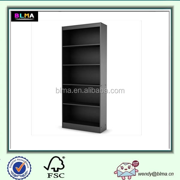 Wooden 5 Shelf Bookcase in Pure Black