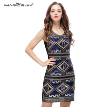 Nice price sleeveless vintage fancy costume sequined retro formal party dresses short beaded evening gown dress