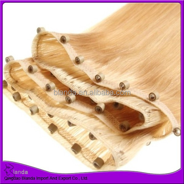 Human hair hand made pu skin weft with micro beads skin weft