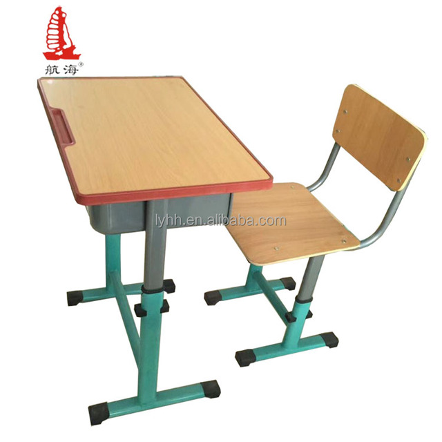 Highly Adjustable School Furniture Single Student Desk and Chair, Metal School Desk and Chair